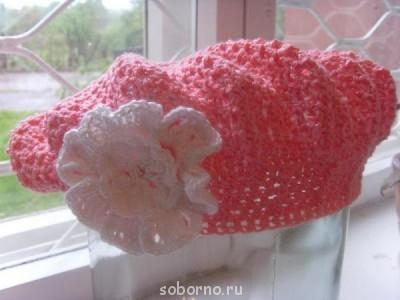 Вязание крючком - берет розовый1.jpg