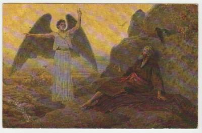 Христианская культура в картинках - Image 1V L ange du  seigneur apparait au prophete Elie 1 Rois 19 3-5.jpg